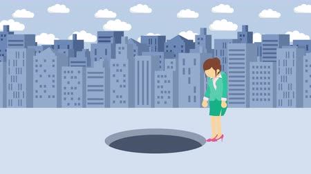 overcoming : Business woman jump over the hole. Background of buildings. Risk concept. Loop illustration in the flat style.