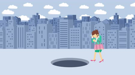 ловушка : Business woman fall into the hole. Background of buildings. Risk concept. Loop illustration in the flat style. Стоковые видеозаписи