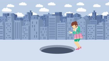 carelessness : Business woman jump over the hole. Background of buildings. Risk concept. Loop illustration in the flat style.