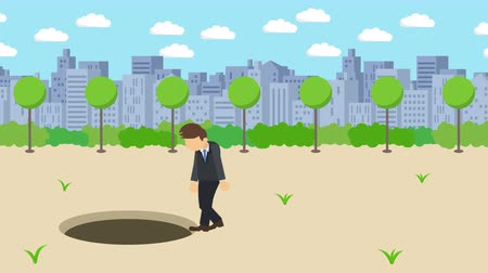 pasti : Business man fall into the hole. The background of town. Risk concept. Loop illustration in the flat style.