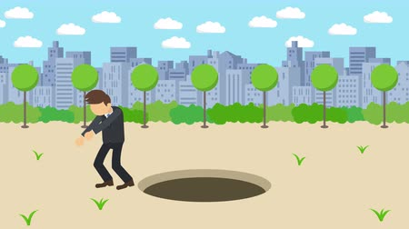 pasti : Business man jump over the hole. The background of town. Risk concept. Loop illustration in the flat style.