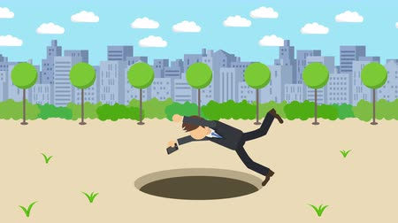 ловушка : Business man fall into the hole. The background of town. Risk concept. Loop illustration in the flat style.