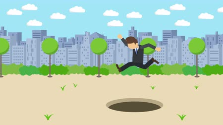 overcoming : Business man jump over the hole. The background of town. Risk concept. Loop illustration in the flat style.