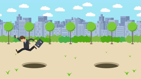carelessness : Business man jump over the hole. The background of town. Risk concept. Loop illustration in the flat style.
