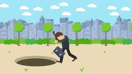 carelessness : Business man fall into the hole. The background of town. Risk concept. Loop illustration in the flat style.