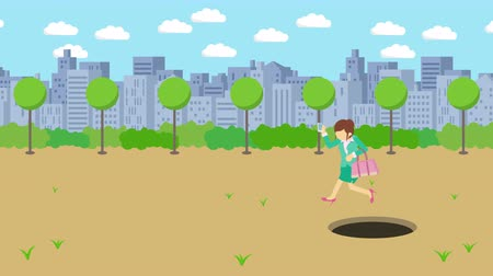 чемодан : Business woman jump over the hole. The background of town. Risk concept. Loop illustration in the flat style.