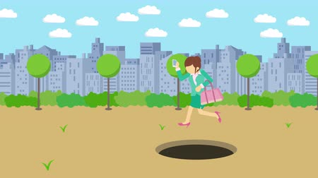 carelessness : Business woman jump over the hole. The background of town. Risk concept. Loop illustration in the flat style.