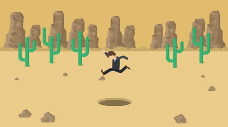 overcoming : Business man jump over the hole. Background of desert. Risk concept. Loop illustration in the flat style. Stock Footage