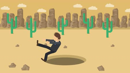 ловушка : Business man fall into the hole. Background of desert. Risk concept. Loop illustration in the flat style.