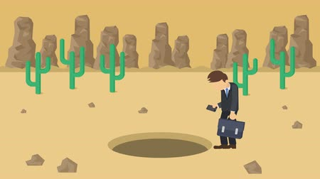 wasteland : Business man jump over the hole. Background of desert. Risk concept. Loop illustration in the flat style. Stock Footage