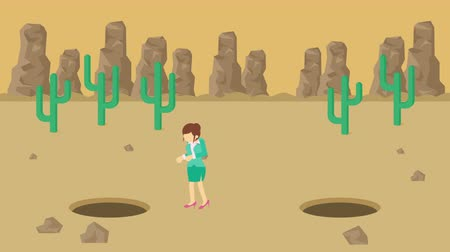 wasteland : Business woman jump over the hole. Background of desert. Risk concept. Loop illustration in the flat style. Stock Footage