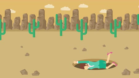 ловушка : Business woman fall into the hole. Background of desert. Risk concept. Loop illustration in the flat style.