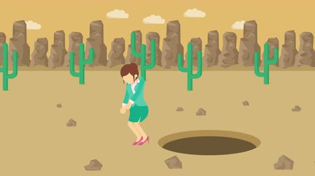 манга : Business woman jump over the hole. Background of desert. Risk concept. Loop illustration in the flat style. Стоковые видеозаписи
