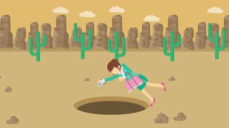Ícones : Business woman fall into the hole. Background of desert. Risk concept. Loop illustration in the flat style.