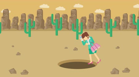 wasteland : Business woman fall into the hole. Background of desert. Risk concept. Loop illustration in the flat style.
