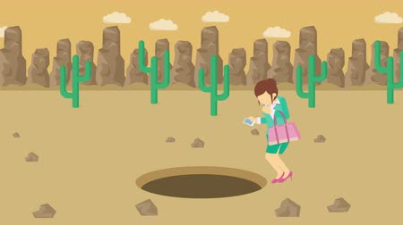 overcoming : Business woman jump over the hole. Background of desert. Risk concept. Loop illustration in the flat style. Stock Footage