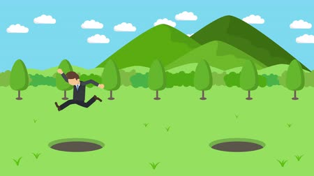 carelessness : Business man jump over the hole. The background of mountains. Risk concept. Loop illustration in the flat style.