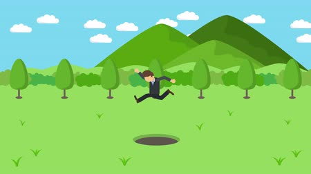 overcoming : Business man jump over the hole. The background of mountains. Risk concept. Loop illustration in the flat style.