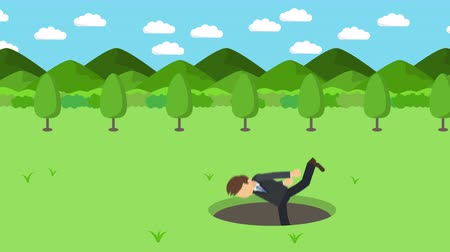 Ícones : Business man fall into the hole. The background of mountains. Risk concept. Loop illustration in the flat style.