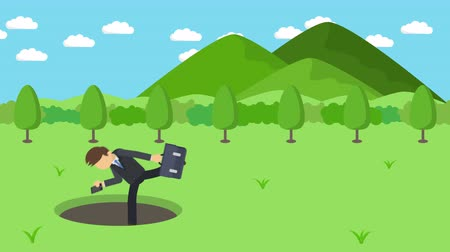 kreskówki : Business man fall into the hole. The background of mountains. Risk concept. Loop illustration in the flat style.