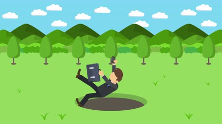 pasti : Business man fall into the hole. The background of mountains. Risk concept. Loop illustration in the flat style.