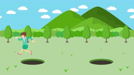 overcoming : Business woman jump over the hole. The background of mountains. Risk concept. Loop illustration in the flat style.