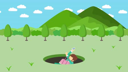 ловушка : Business woman fall into the hole. The background of mountains. Risk concept. Loop illustration in the flat style.