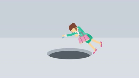 pasti : Business woman fall into the hole. Risk concept. Loop illustration in the flat style.