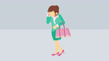 bavul : Business woman running with briefcase and phone. Success concept. Loop illustration in the flat style. Stok Video