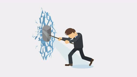 křaplavý : Business man breaking the wall. Freedom and challenge concept. Loop illustration in the flat style.