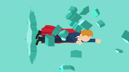 bricks : Super Hero business man breaking the wall. Freedom and challenge concept. Loop illustration in the flat style.