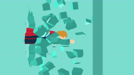 plášť : Super Hero business man breaking the wall. Freedom and challenge concept. Loop illustration in the flat style.