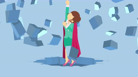 overcoming : Super Hero business woman breaking the wall. Freedom and challenge concept. Loop illustration in the flat style.