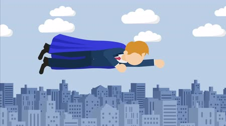plášť : Super Hero business man flying in suit and red cape. Leadership and achievement concept. Loop illustration in the flat style. Dostupné videozáznamy