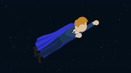 overcoming : Super Hero business man flying in suit and red cape. Leadership and achievement concept. Loop illustration in the flat style. Stock Footage