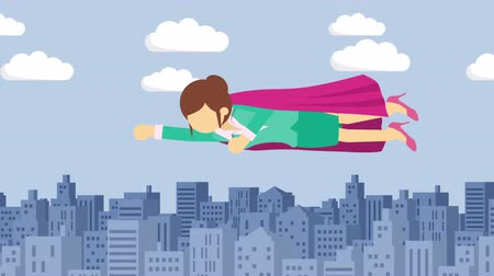 plášť : Super Hero business woman flying in suit and red cape. Leadership and achievement concept. Loop illustration in the flat style. Dostupné videozáznamy