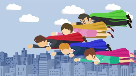 герои : Super Hero business team flying in suit and red cape. Leadership and achievement concept. Loop illustration in the flat style. Стоковые видеозаписи