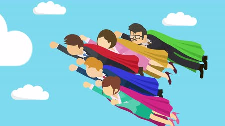 plášť : Super Hero business team flying in suit and red cape. Leadership and achievement concept. Loop illustration in the flat style. Dostupné videozáznamy