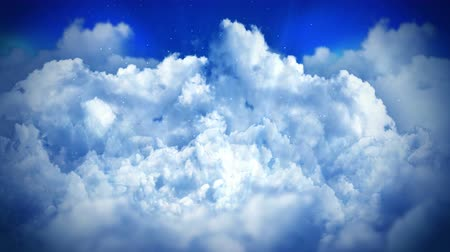 pop art background : Fantasy landscape on cloudy sky, White smoke animation, Loop the background,