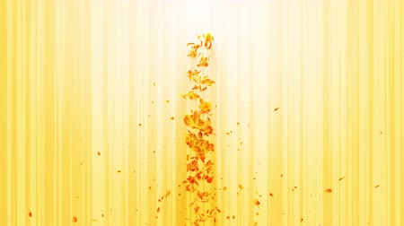 вихрь : Vortex from yellow leaves. Spiral shiny particle of seasonal leaves. Dancing leaf. Colorful nature tunnel loop animation.