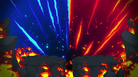 blue red : Cartoon fire animation. Flame the loop background. Competition. Battle game.