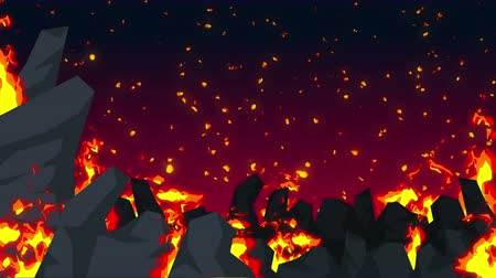 sinir : Evil abstract animation, Apocalyptic hell background, Fire flames on spooky wilderness,
