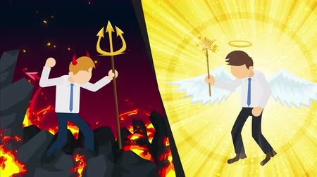 heaven and hell : Angel and devil suit graphic. Happy or unhappy. Battle. Competition. Cosplay. Cartoon repeat animation. Stock Footage