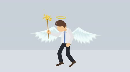 косплей : Cute angel illustration. Love & peace. Business character. Cosplay. Abstract loop animation. Стоковые видеозаписи
