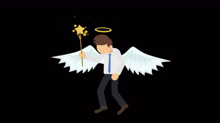 マスコット : Cute angel illustration. Love & peace. Business character. Cosplay. Abstract loop animation. 動画素材