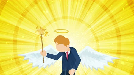 マスコット : Cartoon angel flying in heaven. Happy. Business costume. Cosplay. Loop flat design.