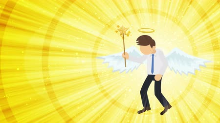 celestial : Cartoon angel flying in heaven. Happy. Business costume. Cosplay. Loop flat design.