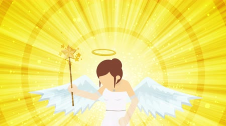heavenly : Cartoon angel flying in heaven. Happy. Business costume. Cosplay. Loop flat design.