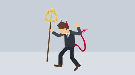 косплей : Spooky devil illustration. Business character. Boss. Cosplay. Pitchfork & horn. Abstract loop animation.