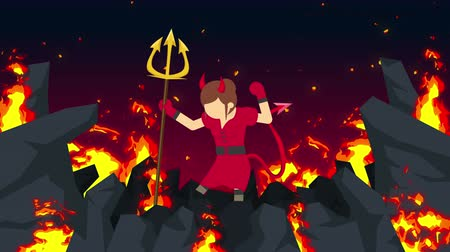 косплей : Cartoon devil flying on hell. Business character on burning wilderness. Halloween... Cosplay. Loop scary animation.